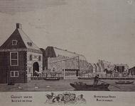 1973-4085 Gezicht op de Binnenwegse Poort bij de Coolsingel, uit het noordwesten.Middenonder het stadswapen.