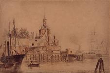 1973-4089 Gezicht op de Ooster Oude Hoofdpoort aan de Oudehaven, uit het westen.