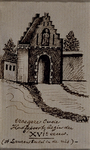 1973-4095 Vroegere Oude Hoofdpoort, begin 16e eeuw, St. Laurensbeeld in de nis, gezien van buiten de stad. Aan het ...