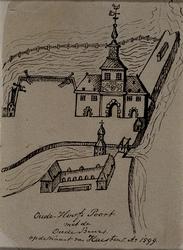 1973-4096 Oude Hoofdpoort met de Oude Beurs op de kaart van Haestens Ao 1599. Op het oude opzetpapier: Oude Hoofdpoort ...