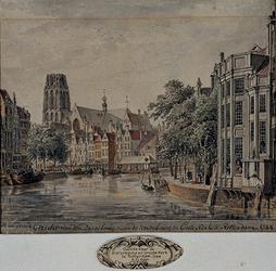 1973-4147 Gezicht naar de Korenbeurs en Groote Kerk te Rotterdam 1744.
