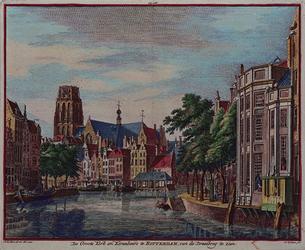 1973-4148 De Grote Kerk en de Korenbeurs te Rotterdam, gezien vanaf de Kleine Draaibrug.