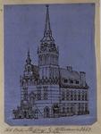 1973-4190 Het oude Stadhuis te Rotterdam in 1667. Hoogstraatzijde.