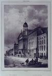 1973-4194 Gevels aan de zuidzijde van de Kaasmarkt met in het midden het Stadhuis, links daarvan de Kipstraat.