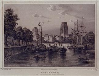 1973-4246 De Leuvehaven en Zeevischmarkt, gezien vanaf de Leuvebrug. Op de achtergrond de Sint-Dominicuskerk (of ...