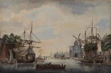 1973-4260 Gezicht op de Leuvehaven met rechts de Wittepoort en twee gedeeltelijk zichtbare molens. Met links de Ooster ...