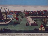 1973-4262 Gezicht op de Maas in het midden Leuvehaven, met links twee molens aan de toegang tot de Zalmhaven en rechts ...