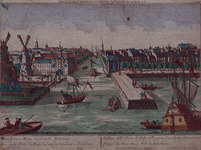 1973-4265 Gezicht op de Maas in het midden Leuvehaven, met links twee molens aan de toegang tot de Zalmhaven en rechts ...