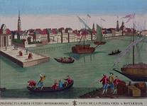 1973-4270 Gezicht op de Nieuwe Maas met links de Oudehoofdpoort, rechts Episcopaalsekerk en Roomolen, daartussen ...