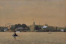 1973-4288 Gezicht op de Nieuwe Maas met op de achtergrond: de Veerhaven (links), het voormalige Yachtclubgebouw ...
