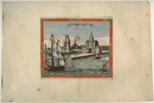 1973-4336 Gezicht op de Wester Nieuwe Hoofdpoort of Wittepoort, rechts de ingang Leuvehaven en links twee molens en de ...