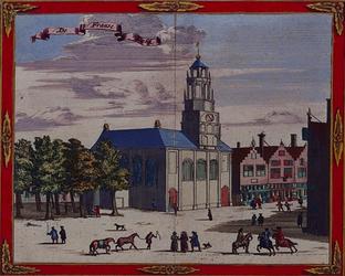 1973-4344 Gezicht op de Franse Kerk aan de Hoogstraat (rechts), met op de voorgrond de Schiedamsedijk (later Korte ...