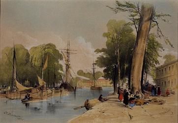 1973-4362 Onwaarschijnlijk tafereel langs een haven met zeeschepen. (onbekend stadsgezicht,1837)