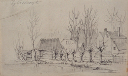 1973-4376 Enkele woningen, op de voorgrond een water, vermoedelijk de Rotte.