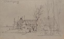1973-4377 Boerenbedrijf, op de achtergrond links uitzicht op een kerktoren in de verte.