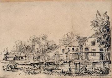 1973-4382 Landschap met boerenwoninkjes.