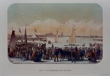 1973-4388 Februari, 1855.Zeilwedstrijd op het ijs, met ijsschuitjes.