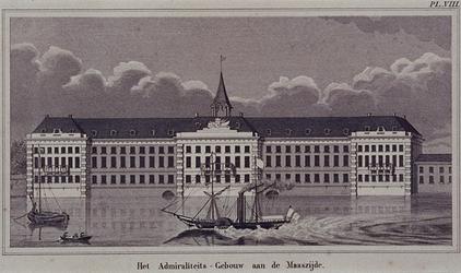1973-4480 Gezicht op het Admiraliteitsgebouw op de voorgrond de Nieuwe Maas.
