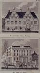 1973-4497-1-EN-2 Gezicht op de voormalige Schuttersdoelen. circa 1800 (boven) en het paleis van justitie. circa 1865 ...