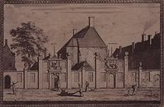 1973-4506 Gezicht op het gebouw van Sint Jorisdoele aan de Coolvest. Muur met 2 poortjes, waarboven de Doele (links) en ...