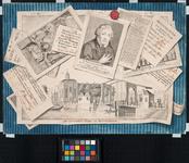 1973-4544 Trompe d'oeil: bedriegelijk echt getekende voorstelling van een verzameling prenten en briefjes, betreffende ...