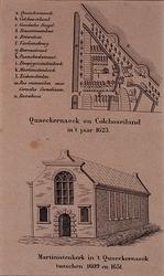 1973-4556 .Boven: Plattegrond van Quaeckernaeck en Colchoseiland in 't jaar 1623.Onder: Martinistenkerk in 't ...
