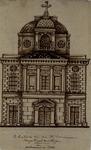 1973-4564 Voorzijde van de R.K. Kerk van den H. Dominicus, aan de Hoogstraat, gebouwd in 1833.
