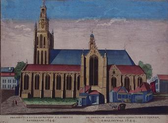 1973-4624 Gezicht op de Grote Kerk aan het Grotekerkplein, maar zonder titel in spiegelbeeld boven de prent.