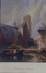 1973-4636 Gezicht op de Binnenrotte, een markttafereel bij de Grote of Sint Laurenskerk, uit het noordoosten.