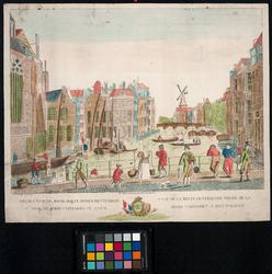 1973-4738 De Binnenrotte gezien uit het zuiden, links de Grote of Sint-Laurenskerk. Op de achtergrond de Blauwe molen ...