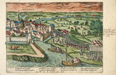 1973-4741 9 april 1572. De inname van Rotterdam door Spaanse soldaten onder leiding van de graaf van Bossu. Gezicht op ...