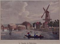 1973-4745 Gezicht op het Boerengat, met links 's-Lands Werf, rechts de Roomolen aan de Oostmolenwerf, uit het zuidoosten.
