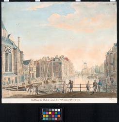 1973-4809 Overzicht van de Binnenrotte uit zuidelijke richting. Op de voorgrond de Boerenvismarkt. Links het koor van ...