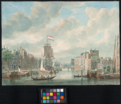 1973-4811 Oudehaven, het noordelijk deel, gezien uit oostelijke richting vanaf de Spaansekade. Links de Geldersekade. ...