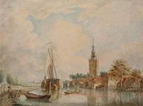 1973-4819 Gezicht op de Delftse Schie vanaf de Schiekade, uit het zuidwesten. Met rechts de Nederlandse Hervormde Kerk ...
