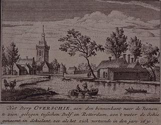1973-4829 Gezicht op het dorp Overschie (links), de bocht in de Delftse Schie en rechts, aan de overkant van de Schie, ...