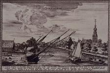 1973-4833 Gezicht op Overschie uit NW. Rechts het dorp met de kerk en het 'Stadts Tolhuys'. Links een scheepswerf aan ...