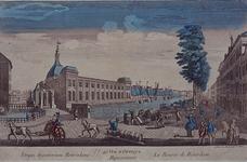 1973-4884 Gezicht op de Blaak met de Beurs en de Gapersbrug, uit het zuidoosten. (in spiegelbeeld)