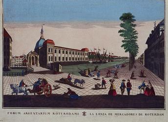 1973-4887 Gezicht op de Blaak met de Beurs en de Gapersbrug, uit het zuidoosten. (in spiegelbeeld)