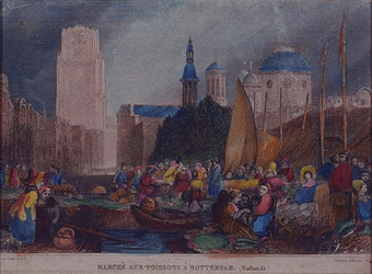 1973-4983 Gezicht op de vismarkt, links op de achtergrond de Grote Kerk, rechts enkele andere kerken (Franse, RK kerk ...