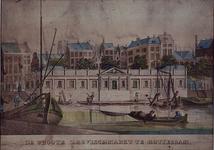 1973-4988 De Zeevismarkt aan de Leuvehaven. Op de achtergrond een deel van de Sint Laurenstoren.