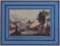 1973-5011 Gezicht op de Oudehaven uit het zuidoosten. Rechts de brug over de ingang van het Haringvliet, op de ...