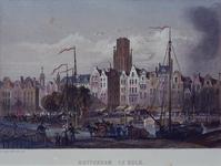 1973-5012 Steigersgracht bij de Grotemarkt met het standbeeld van Erasmus. Op de voorgrond het Westnieuwland.