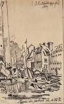1973-5060 13 mei 1849De resten van de stoomsuikerraffinaderij van P. Tromp aan de Leuvehaven na de brand van 13 mei 1849.