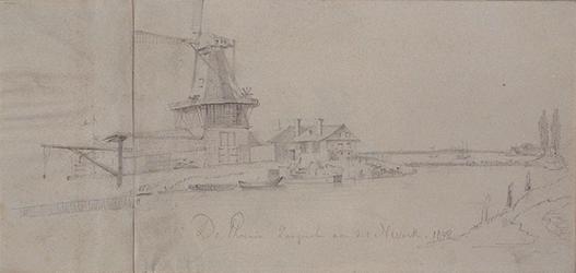 1973-5061 De zaagmolen aan de Nieuwe Maas (rechts op de achtergrond). Uit het noorden.
