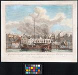 1973-5068 Overblijfselen na de brand van 11 maart 1779. Gezicht op de restanten van enkele woningen en pakhuizen aan de ...