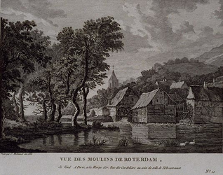 1973-5113 Watermolen bij een dorp in een berglandschap. Niet het Rotterdam waarbij men aan de stad denkt, gelegen aan ...