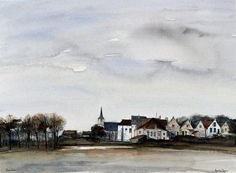 1973-64 Uit zuidelijke richting, links in het bosje de ruïne van het kasteel te Heenvliet.