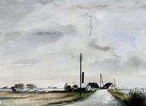 1973-66 Gezicht op de Rottekade met rechts zuidelijk eind van de Rottemeren uit het noorden. Gedeelte buurtschap Vijfhuizen.