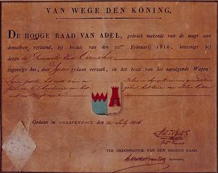 1973-932 Wapen van de gemeente Overschie verleend door de Hoge Raad van de Adel, bij besluit van 20-2-1816.Ondertekend ...